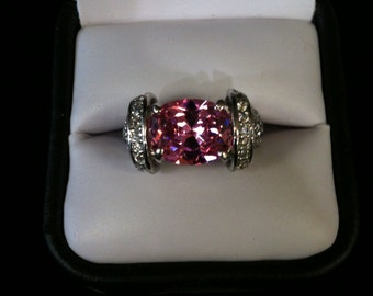925 St/Silver Ring Pink Tourmaline With 46 CZs, Size 7.  8.4 gm..