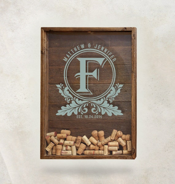 Cork Wedding Memory: Shadow Box Cork Holder Wine Cork Wedding Gift Wine Cork