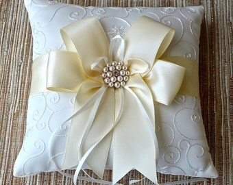 Wedding Ivory/White Ring Bearer Pillow,Ivory Wedding Ring Pillow- IVORY / Choose your Colors, Pearl Rhinestone Accent