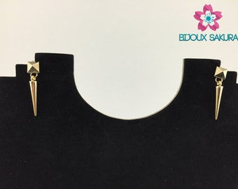 Gold earrings pyramid studs and cone