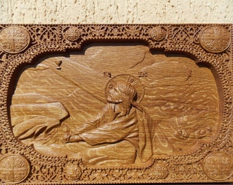 Religious icon Wood carving Agony in the garden, Jesus FREE SHIPPING