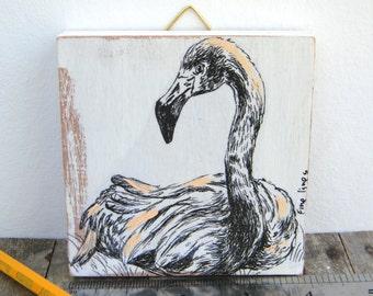 Miniature painting - flamingo print on wood, Wood wall art, Dorm decor, Wood signs, Shabby chic