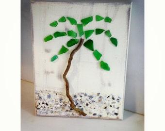 Seaglass Palm Tree, Seaglass Art,  Beach decor, Coastal Art, Driftwood art,