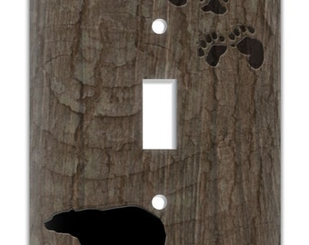 Rustic Lodge Decorative Switch Plate Cover and Outlet Cover Bear with tree bark background