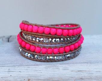Neon Pink beaded leather wrap bracelet