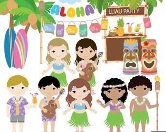 Luau Party Digital Clipart, Aloha Clipart, Hawaii clipart, Beach party Clipart