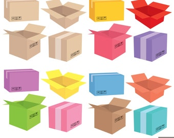Shipping Boxes Digital Clipart