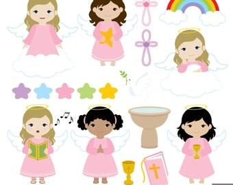 Cute Angel Baptism Clipart Cute Angels Girls Baptism