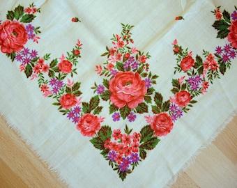 Vintage woolen shawl Woolen scarf with floral pattern #68