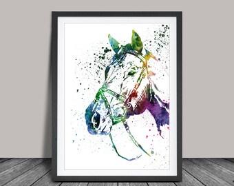 Horse Art Watercolor Print, Horse Painting Watercolor Art Print Home Decor, Colorful Animal Art (49)