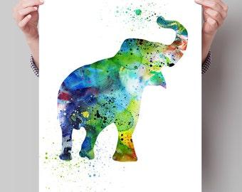 Elephant Art, Elephant Watercolor Painting, Watercolor Art Print, Decor Poster, Elephant Nursery Wall Decor, Elephant Baby Decor(116)