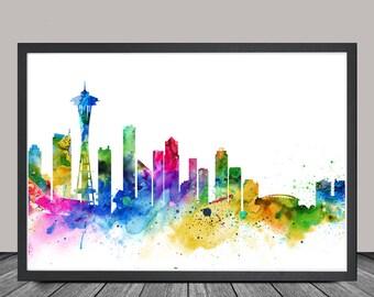 Seattle Skyline, Seattle Cityscape, Seattle Print, Watercolor Art, Watercolor Painting,Seattle City Art, Map Poster, Skyline Art(127)
