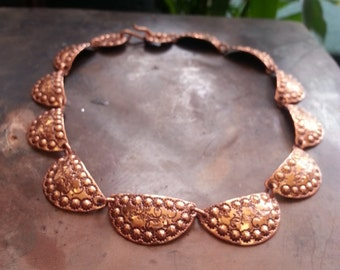 Vintage, hand stamped, copper, choker necklace