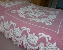 "Rare covers bed net ""Angels"" in 1900. Bed Coverlet. handmade. Bed Coverlet handmade"