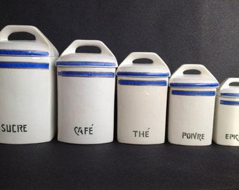 French Antique Set of Porcelain Canister