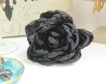 Large Satin Rose Brooch
