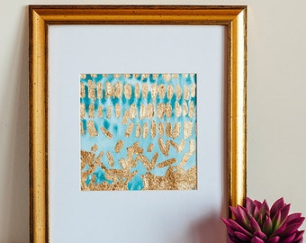 Falling // Original abstract painting, acrylic ink, gold leaf. Blue, white, and gold.