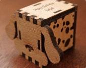 Music box, hand crank interlocking wooden music box, DIY   - Dog