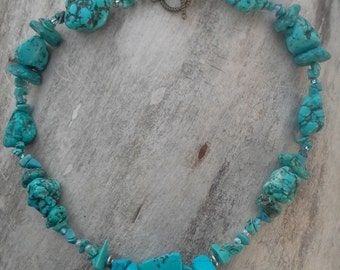 Turquoise Chunky Sterling Silver Necklace