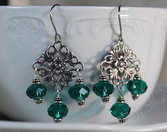 Filigree Emerald Earrings
