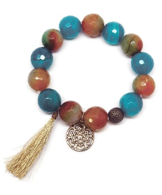 Semi-Precious Stone Bracelet in Turquoise Blues & Greens