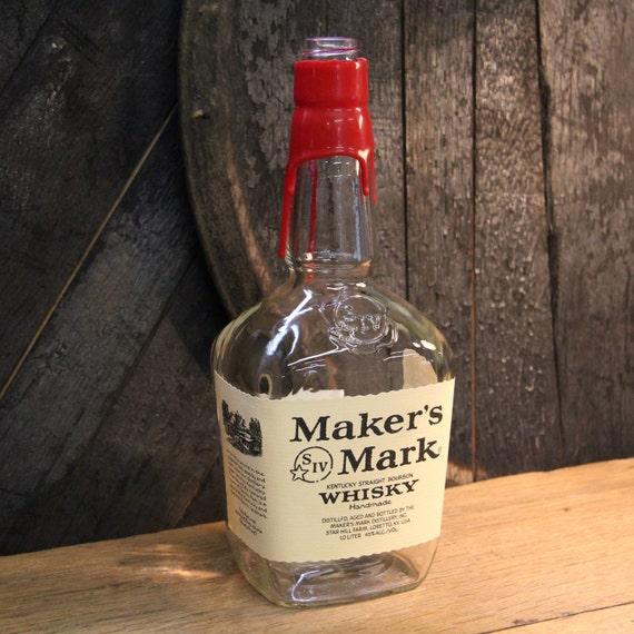 Empty Maker's Mark Bourbon Whiskey Bottle Recycled Glass Bottle Recycled Candle Jar Whiskey Candle Empty Glass Bottle Vase Craft Supplies