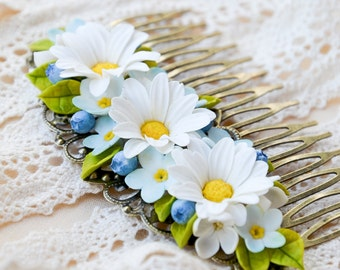 Handmade filigree hair comb -Daisies, forget-me-not, lilac -Floral hair comb