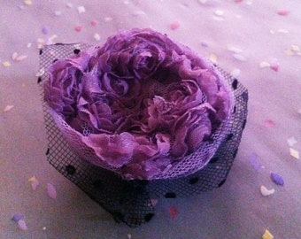 Black and Violet Lace Flower Round Brooch