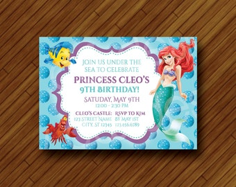Printable Mermaid Party Invitation