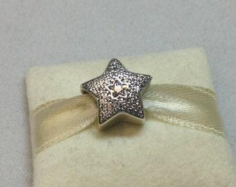 Authentic Pandora Silver Wishing Star Charm #791384CZ