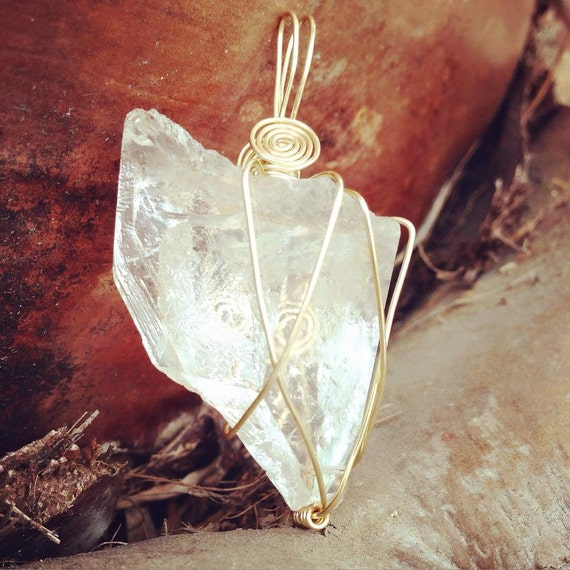 Quartz Crystal Wire Wrapped Pendant Clear Light