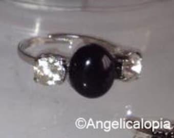 Petite Adjustable Onyx Diamante Ring