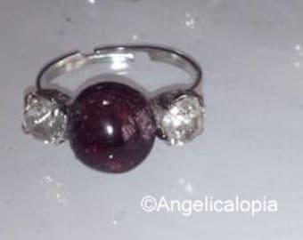 Petite Adjustable Garnet Diamante Ring