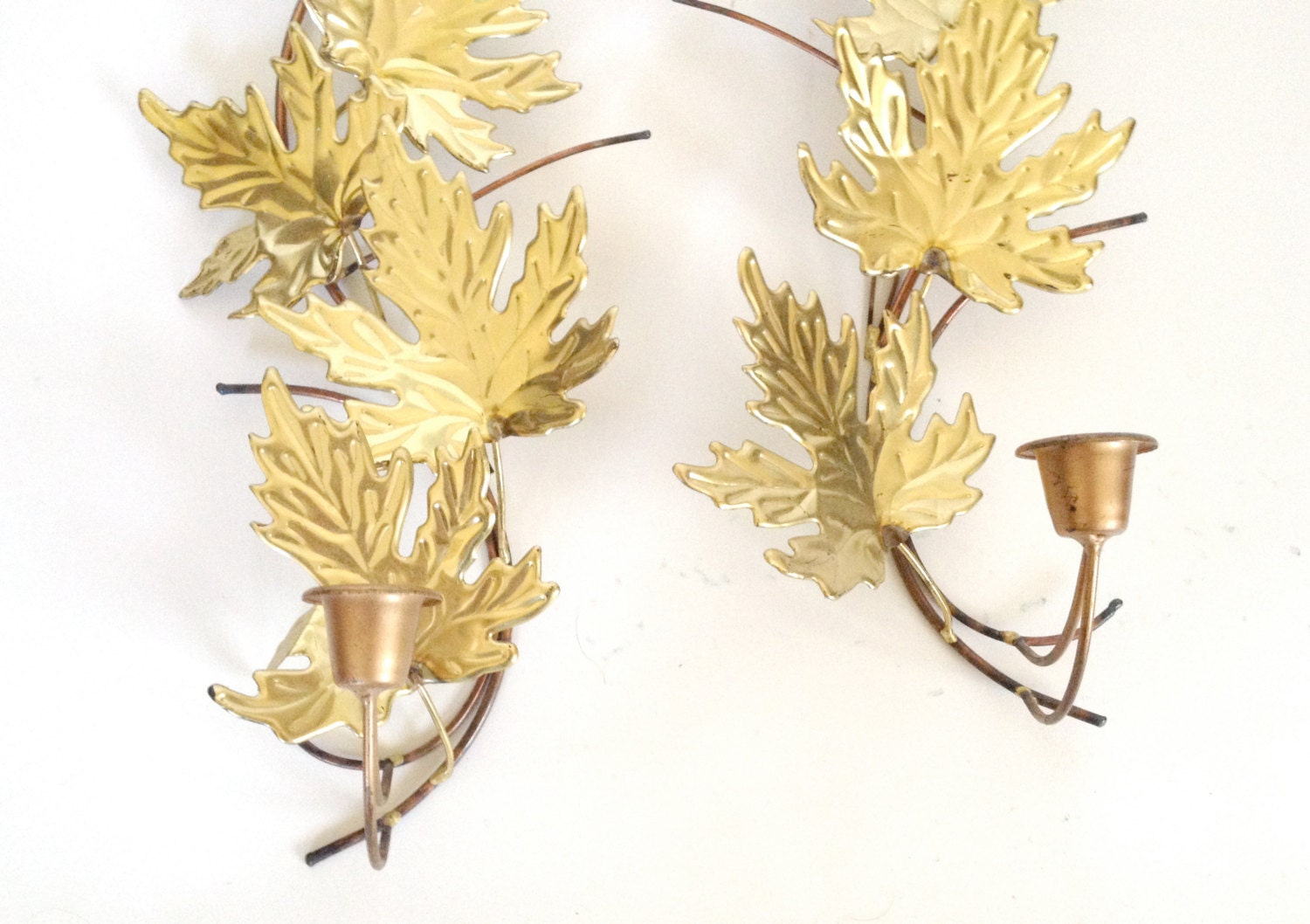 Wall Sconces With Leaves : Vintage Brass Maple Leaf Wall Sconces