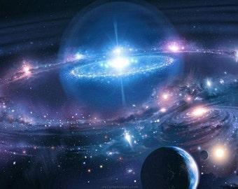 Andromeda Galaxy Stars Universe Space Silk Cloth Poster