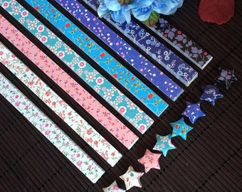 Origami Lucky Star Paper Strips Romantic Floral Mixed Designs Star Foldng DIY - Pack of 80 Strips