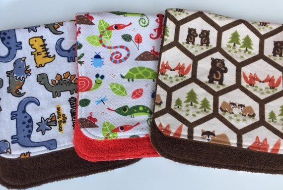 Dinosaurs, Lizards and Woodland Critters Burp Cloths