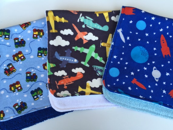 Planes, Trains and Outer Space Burp Cloths