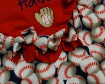 Baseball Tie Knot Fleece Blanket