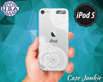 Ornate White Henna Tattoo Pattern Flower Floral Cute Tumblr Rubber Transparent Clear Case For iPod Touch 5th Generation iPod Touch 6th Gen
