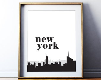 Wall Decor Home Decor New York Printable Art Poster New York Wall Art NYC Skyline Black and White Travel Art Giclee Digital Download