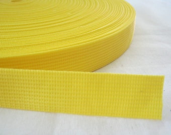 5 Yards, 1 inch (2.5 cm.), Polypropylene Webbing, Yellow, Key Fobs, Bag Straps, Purses Straps, Belts, Tote Bag Handle.