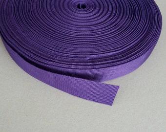 5 Yards, 1.25 inch (3.2 cm.), Polypropylene Webbing, Purple, Key Fobs, Bag Straps, Purses Straps, Belts, Tote Bag Handle.