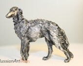 Russian borzoi, Russian wolfhound - miniature figurine dog out of a tin pewter, statuette