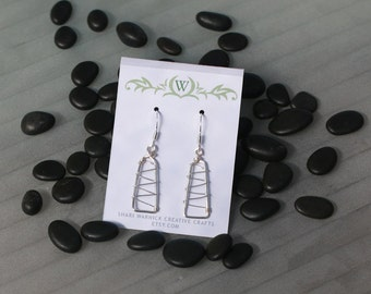 Silver Plated Wire rectangle zig zag earrings