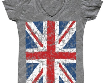 Distressed Union Jack Flag - Ladies' V-neck