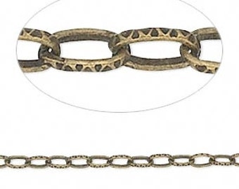 Antiqued Brass Chain, Hammered Chain, Textured Cable Chain, 3 feet, 5x3mm Unsoldered Chain, D497