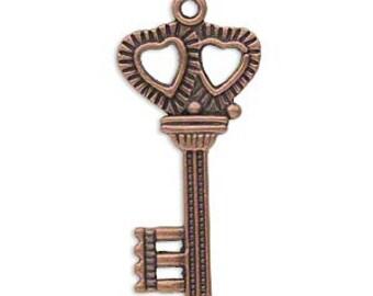 Key Charm, Steampunk Charm, antiqued copper, 34x17mm, 2 each D296
