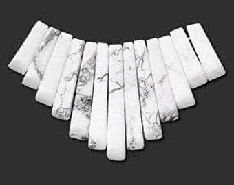 White Howlite Fan, 14mm to 32mm Bead lengths, B Grade Gemstones,13 beads, D107
