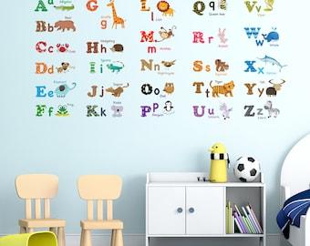 Decowall, DW-1308, Alphabet & Animals Wall Stickers